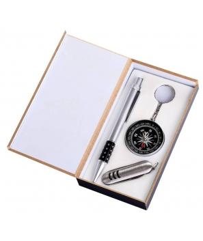 Bolígrafo + Navaja + Brújula en caja .