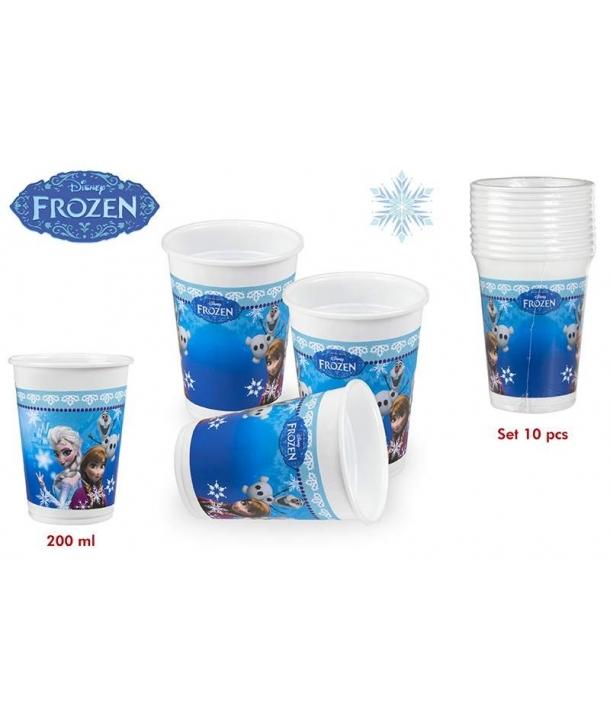 Pack de 10 vasos Frozen con una capacidad de 200ml