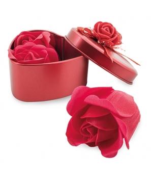 Estuche Metálico Forma Corazón con 3 Rosas de Jabón Flores