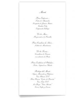 Menú de boda Sencilla y Elegante