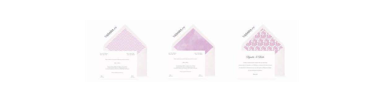 Invitaciones de boda lilas y violetas