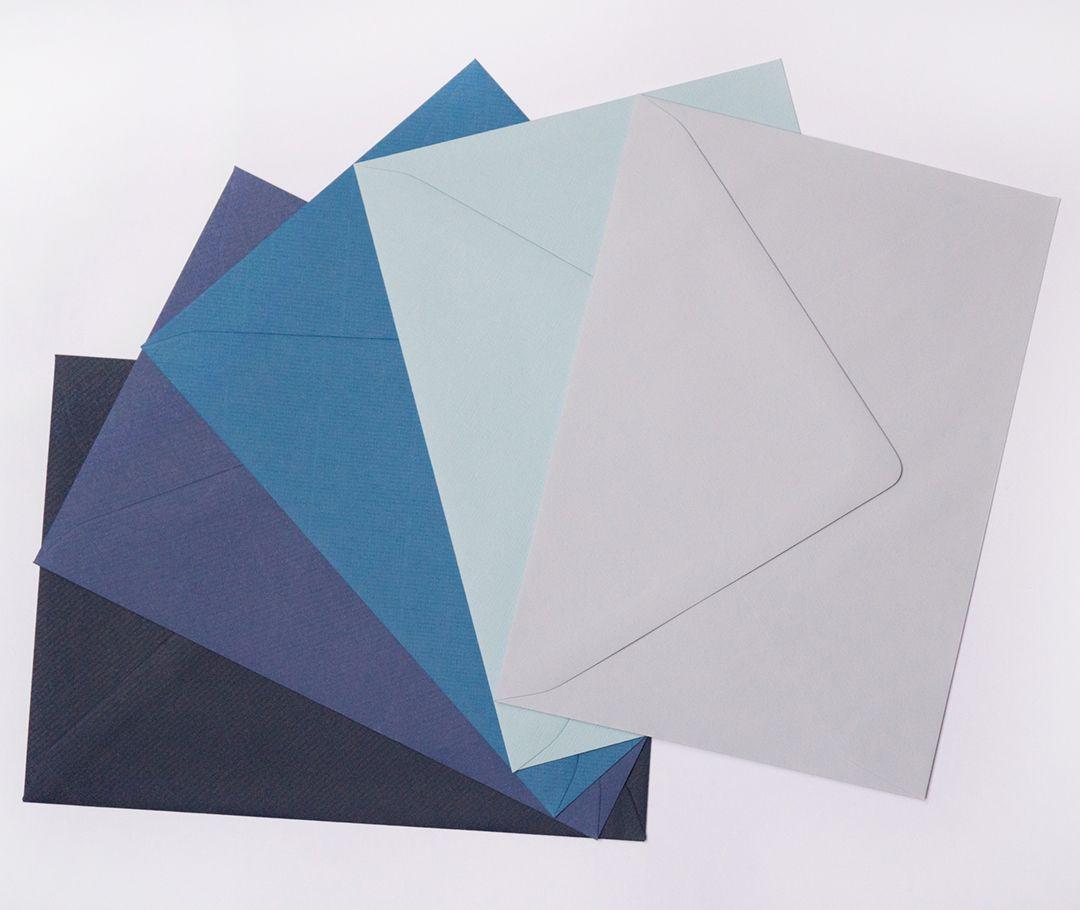 Sobres Azul clásico, Azul real, Azul, Azul bebé, Lavanda claro