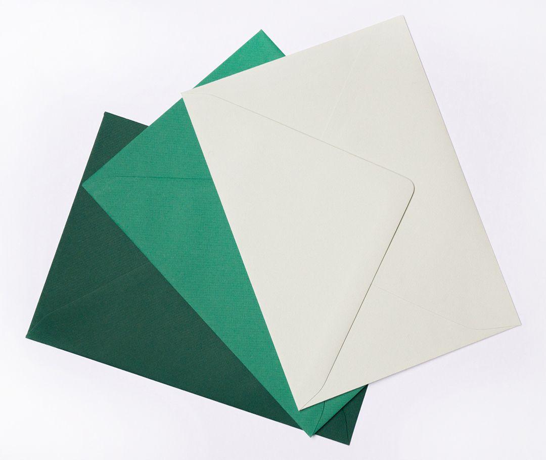 Sobres Verde oscuro, Verde, Verde clarito.
